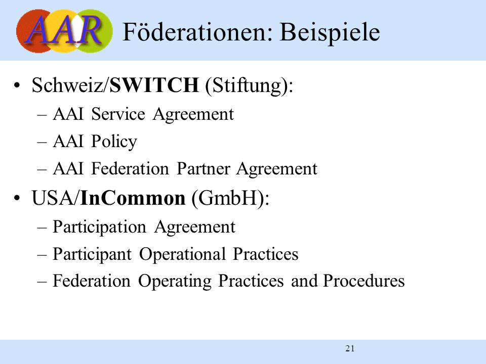 21 Föderationen: Beispiele Schweiz/SWITCH (Stiftung): –AAI Service Agreement –AAI Policy –AAI Federation Partner Agreement USA/InCommon (GmbH): –Participation Agreement –Participant Operational Practices –Federation Operating Practices and Procedures