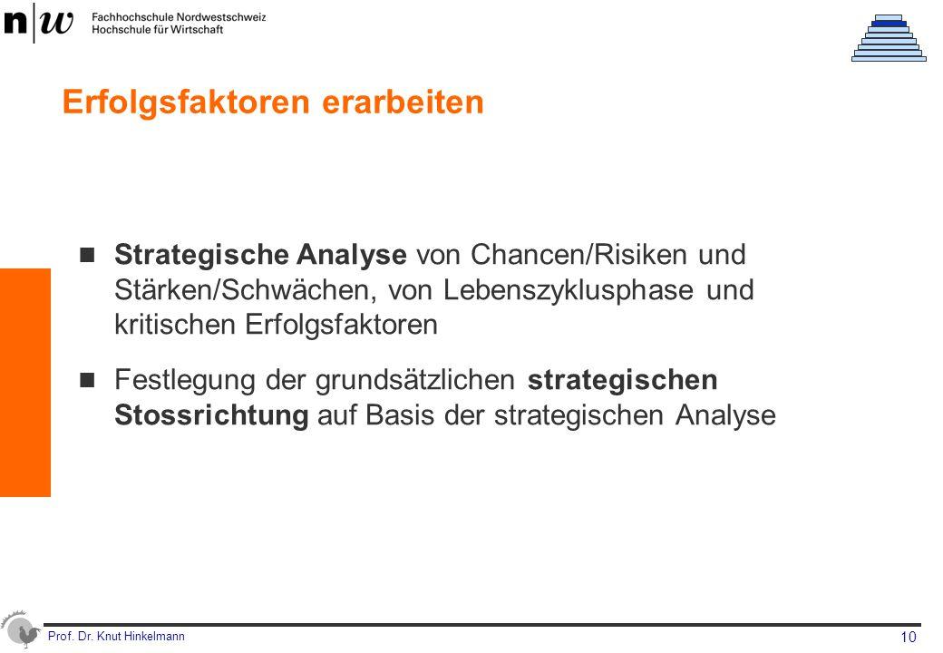 Prof. Dr. Knut Hinkelmann 10 Erfolgsfaktoren erarbeiten Strategische Analyse von Chancen/Risiken und Stärken/Schwächen, von Lebenszyklusphase und krit