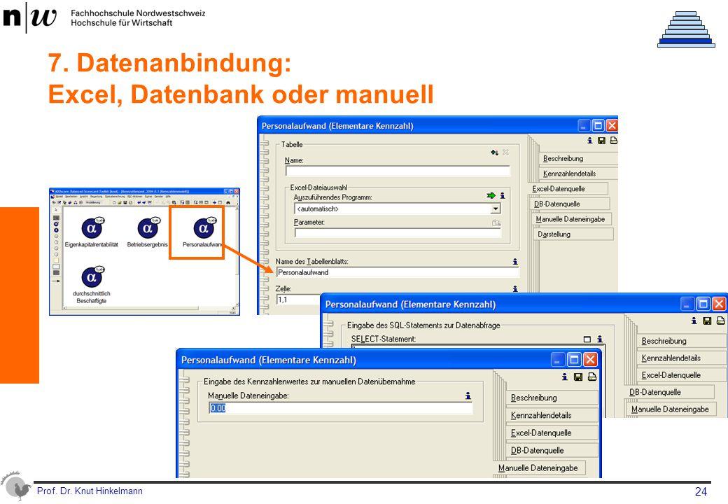 Prof. Dr. Knut Hinkelmann 24 7. Datenanbindung: Excel, Datenbank oder manuell