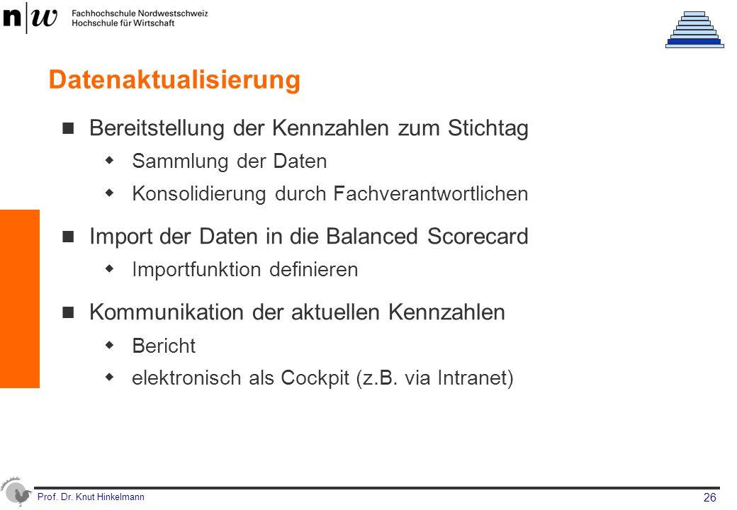 Prof. Dr. Knut Hinkelmann 26 Datenaktualisierung Bereitstellung der Kennzahlen zum Stichtag  Sammlung der Daten  Konsolidierung durch Fachverantwort