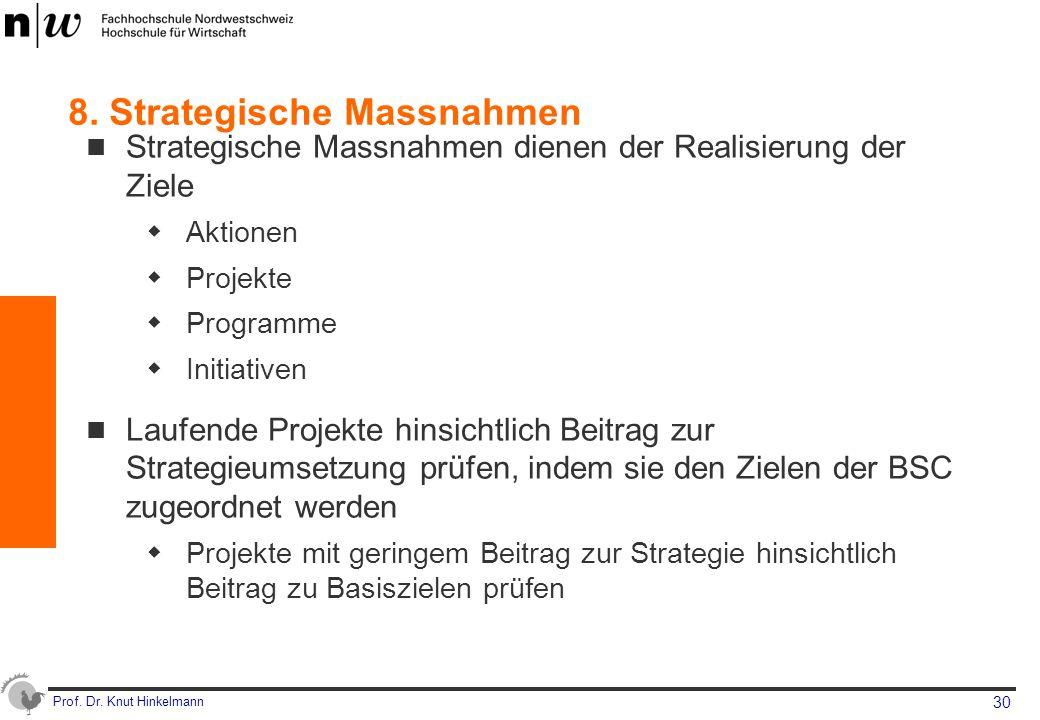 Prof. Dr. Knut Hinkelmann 30 8. Strategische Massnahmen Strategische Massnahmen dienen der Realisierung der Ziele  Aktionen  Projekte  Programme 