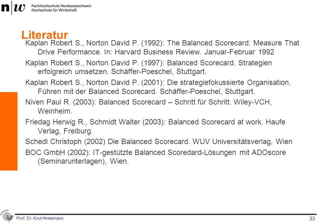 Prof. Dr. Knut Hinkelmann 33 Literatur Kaplan Robert S., Norton David P. (1992): The Balanced Scorecard: Measure That Drive Performance. In: Harvard B