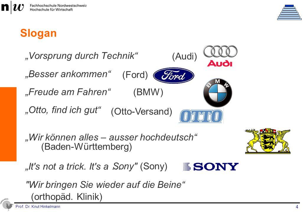 """Prof. Dr. Knut Hinkelmann 4 Slogan """"Vorsprung durch Technik"""" """"Besser ankommen"""" """"Freude am Fahren"""" """"Otto, find ich gut"""" """"Wir können alles – ausser hoch"""