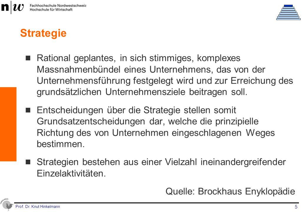 Prof. Dr. Knut Hinkelmann 5 Strategie Rational geplantes, in sich stimmiges, komplexes Massnahmenbündel eines Unternehmens, das von der Unternehmensfü