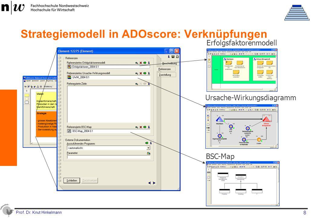 Prof. Dr. Knut Hinkelmann 8 Strategiemodell in ADOscore: Verknüpfungen Erfolgsfaktorenmodell Ursache-Wirkungsdiagramm BSC-Map