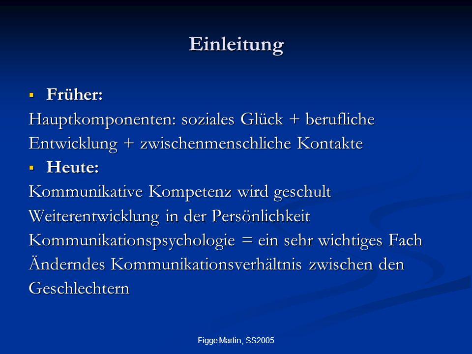Figge Martin, SS2005 Einleitung  Früher: Hauptkomponenten: soziales Glück + berufliche Entwicklung + zwischenmenschliche Kontakte  Heute: Kommunikat