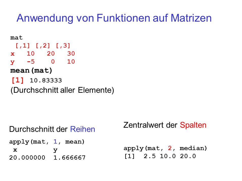 Anwendung von Funktionen auf Matrizen mat [,1] [,2] [,3] x 10 20 30 y -5 0 10 mean(mat) [1] 10.83333 (Durchschnitt aller Elemente) Durchschnitt der Reihen apply(mat, 1, mean) x y 20.000000 1.666667 Zentralwert der Spalten apply(mat, 2, median) [1] 2.5 10.0 20.0