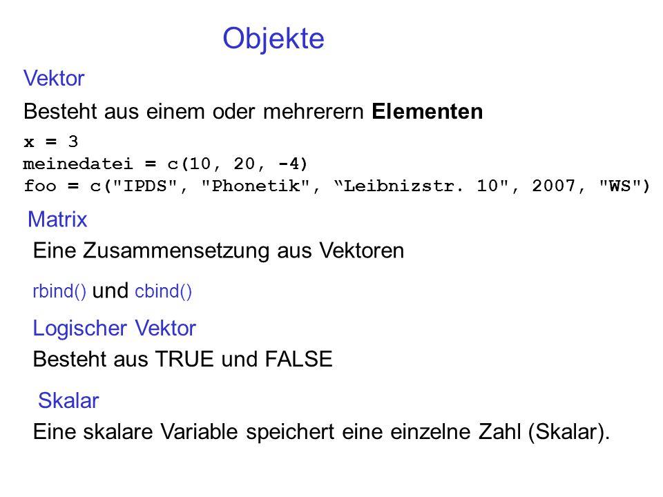 Objekte Vektor Besteht aus einem oder mehrerern Elementen x = 3 meinedatei = c(10, 20, -4) foo = c( IPDS , Phonetik , Leibnizstr.