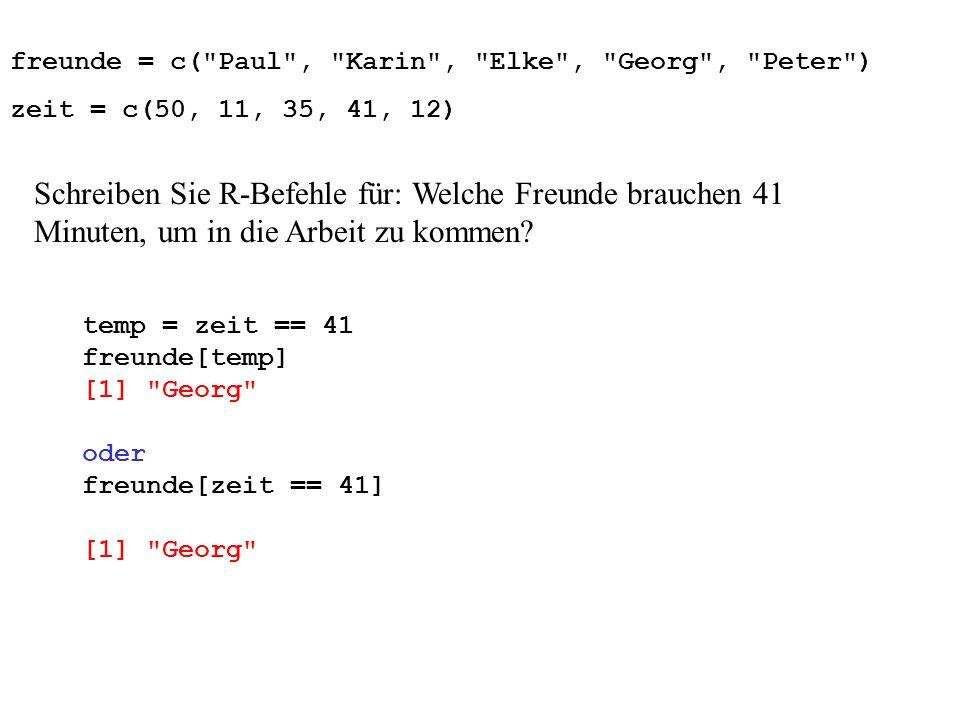 freunde = c( Paul , Karin , Elke , Georg , Peter ) zeit = c(50, 11, 35, 41, 12) Schreiben Sie R-Befehle für: Welche Freunde brauchen 41 Minuten, um in die Arbeit zu kommen.