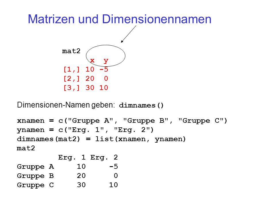 Matrizen und Dimensionennamen mat2 x y [1,] 10 -5 [2,] 20 0 [3,] 30 10 xnamen = c( Gruppe A , Gruppe B , Gruppe C ) ynamen = c( Erg.