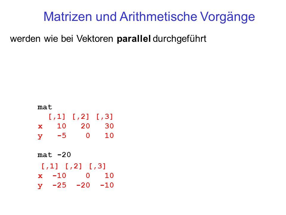 Matrizen und Arithmetische Vorgänge werden wie bei Vektoren parallel durchgeführt mat [,1] [,2] [,3] x 10 20 30 y -5 0 10 mat -20 [,1] [,2] [,3] x -10 0 10 y -25 -20 -10