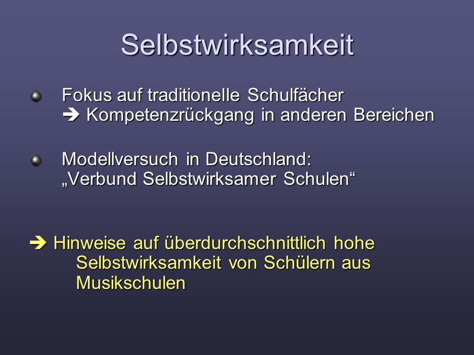 """Selbstwirksamkeit Fokus auf traditionelle Schulfächer  Kompetenzrückgang in anderen Bereichen Fokus auf traditionelle Schulfächer  Kompetenzrückgang in anderen Bereichen Modellversuch in Deutschland: """"Verbund Selbstwirksamer Schulen Modellversuch in Deutschland: """"Verbund Selbstwirksamer Schulen  Hinweise auf überdurchschnittlich hohe Selbstwirksamkeit von Schülern aus Musikschulen"""