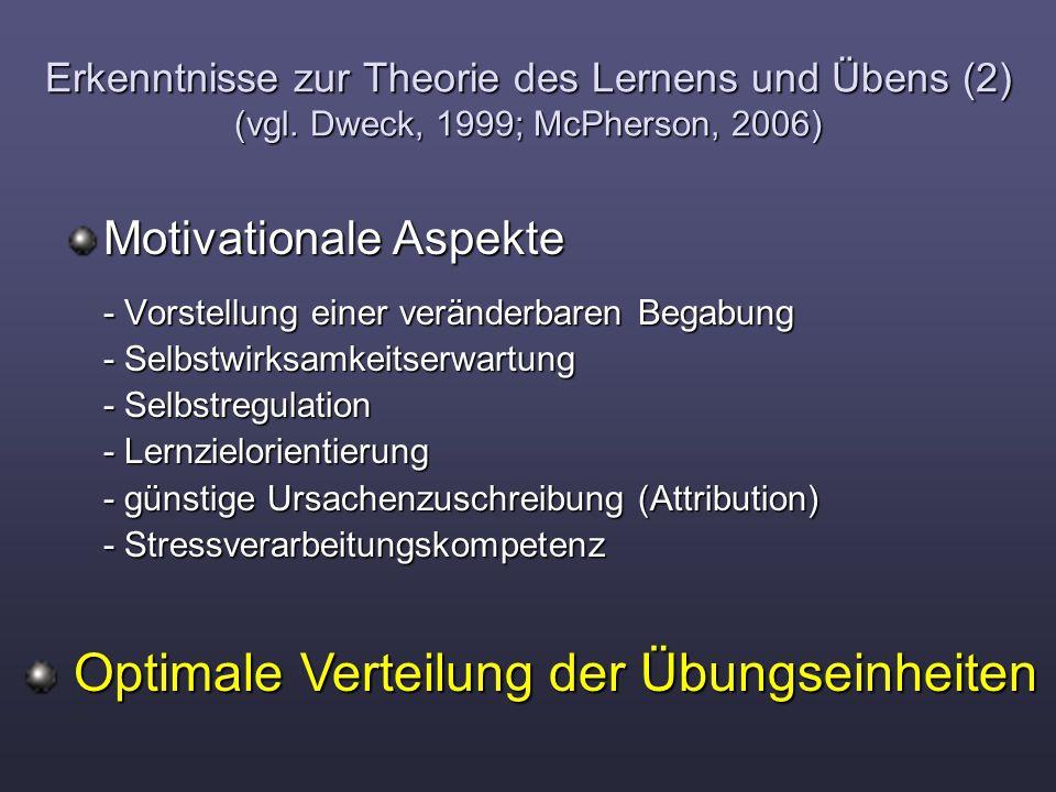 Erkenntnisse zur Theorie des Lernens und Übens (2) (vgl. Dweck, 1999; McPherson, 2006) Motivationale Aspekte - Vorstellung einer veränderbaren Begabun