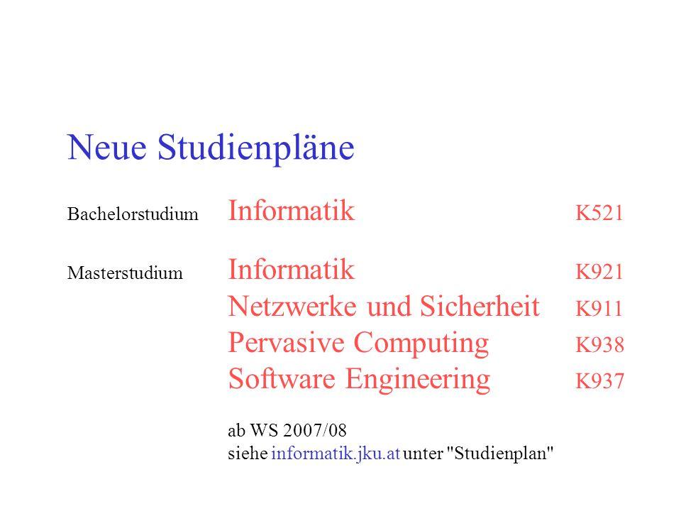 Neue Studienpläne Bachelorstudium Informatik K521 Masterstudium Informatik K921 Netzwerke und Sicherheit K911 Pervasive Computing K938 Software Engine