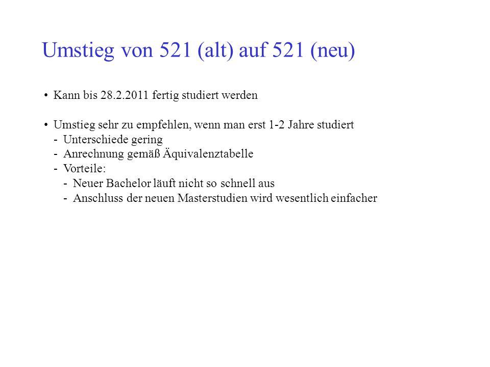 Umstieg von 521 (alt) auf 521 (neu) Kann bis 28.2.2011 fertig studiert werden Umstieg sehr zu empfehlen, wenn man erst 1-2 Jahre studiert -Unterschied