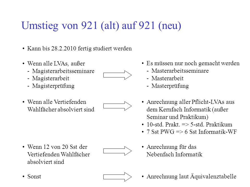 Umstieg von 921 (alt) auf 921 (neu) Kann bis 28.2.2010 fertig studiert werden Wenn alle LVAs, außer -Magisterarbeitsseminare -Magisterarbeit -Magister