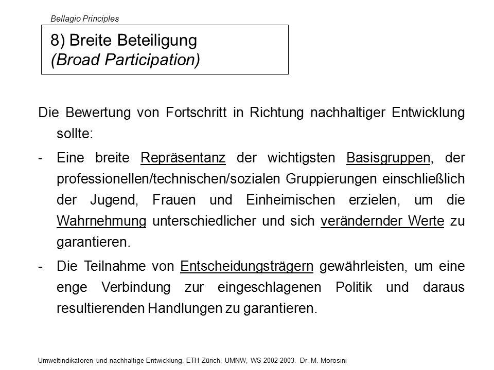 Umweltindikatoren und nachhaltige Entwicklung. ETH Zürich, UMNW, WS 2002-2003.