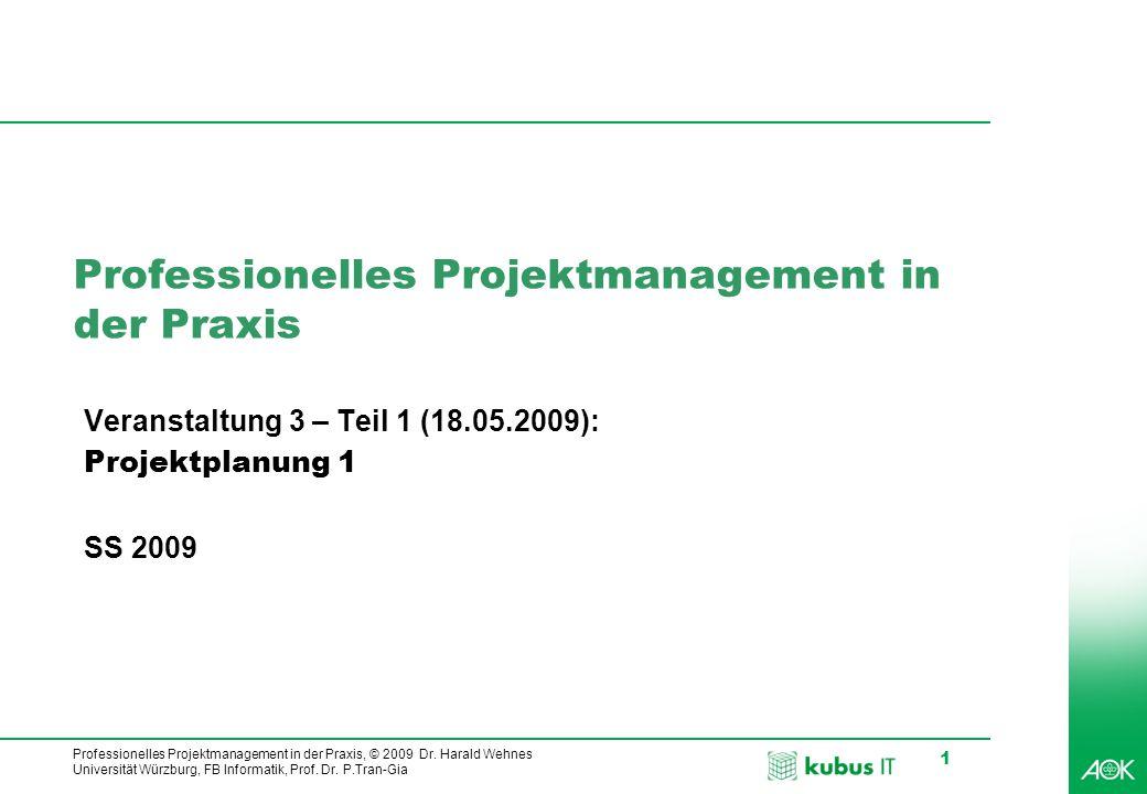 kubus IT Professionelles Projektmanagement in der Praxis, © 2009 Dr. Harald Wehnes Universität Würzburg, FB Informatik, Prof. Dr. P.Tran-Gia 1 Profess