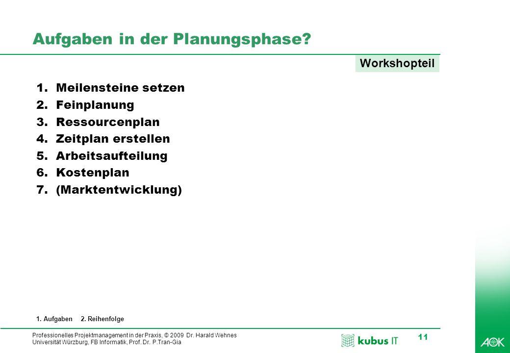 kubus IT Professionelles Projektmanagement in der Praxis, © 2009 Dr. Harald Wehnes Universität Würzburg, FB Informatik, Prof. Dr. P.Tran-Gia 11 Aufgab