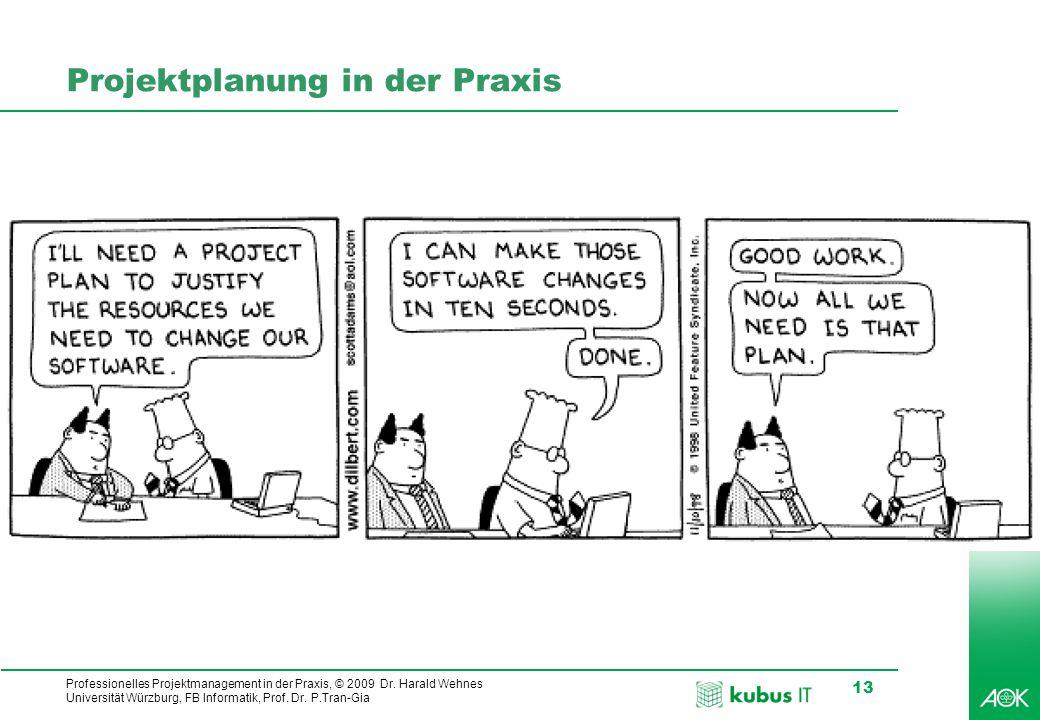kubus IT Professionelles Projektmanagement in der Praxis, © 2009 Dr. Harald Wehnes Universität Würzburg, FB Informatik, Prof. Dr. P.Tran-Gia 13 Projek