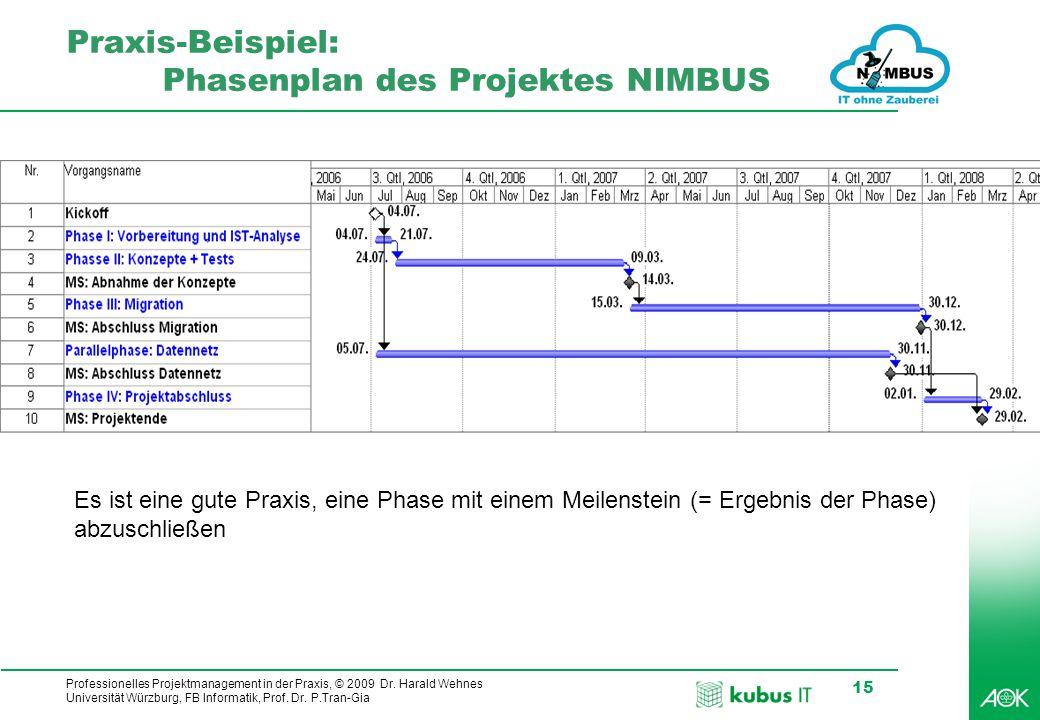 kubus IT Professionelles Projektmanagement in der Praxis, © 2009 Dr. Harald Wehnes Universität Würzburg, FB Informatik, Prof. Dr. P.Tran-Gia 15 Praxis