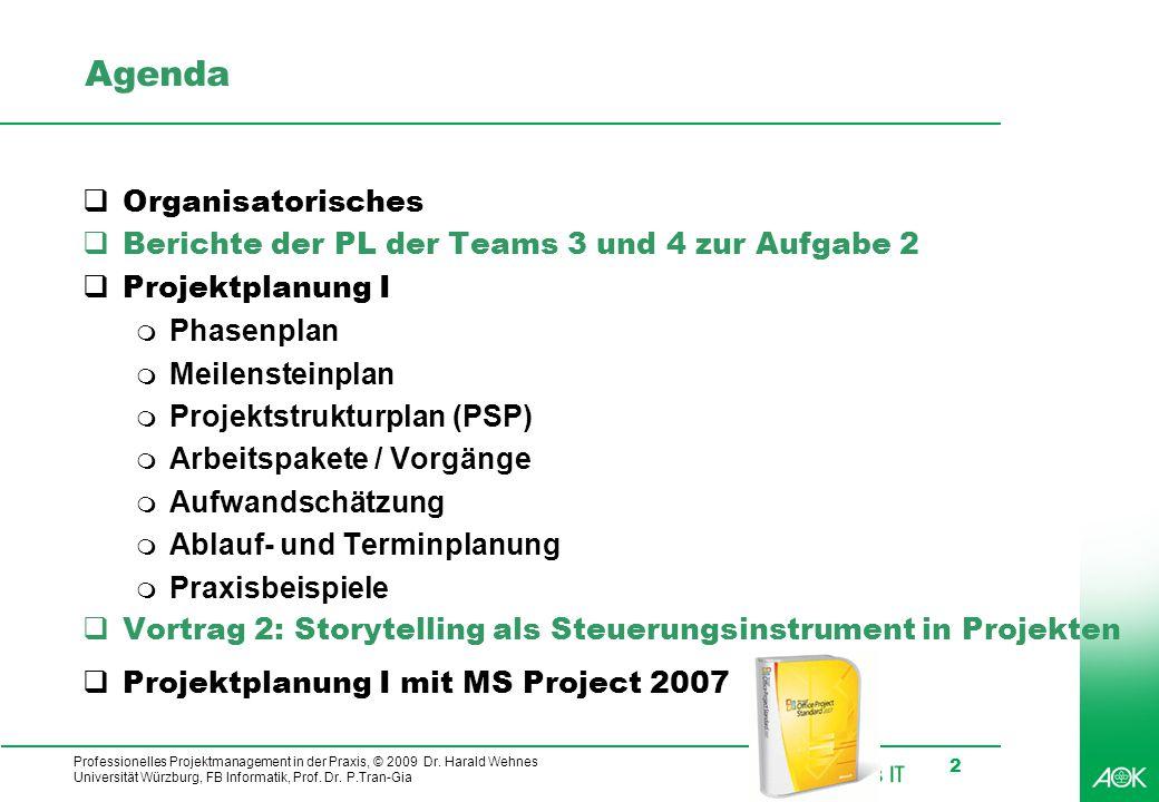 kubus IT Professionelles Projektmanagement in der Praxis, © 2009 Dr. Harald Wehnes Universität Würzburg, FB Informatik, Prof. Dr. P.Tran-Gia 2 Agenda