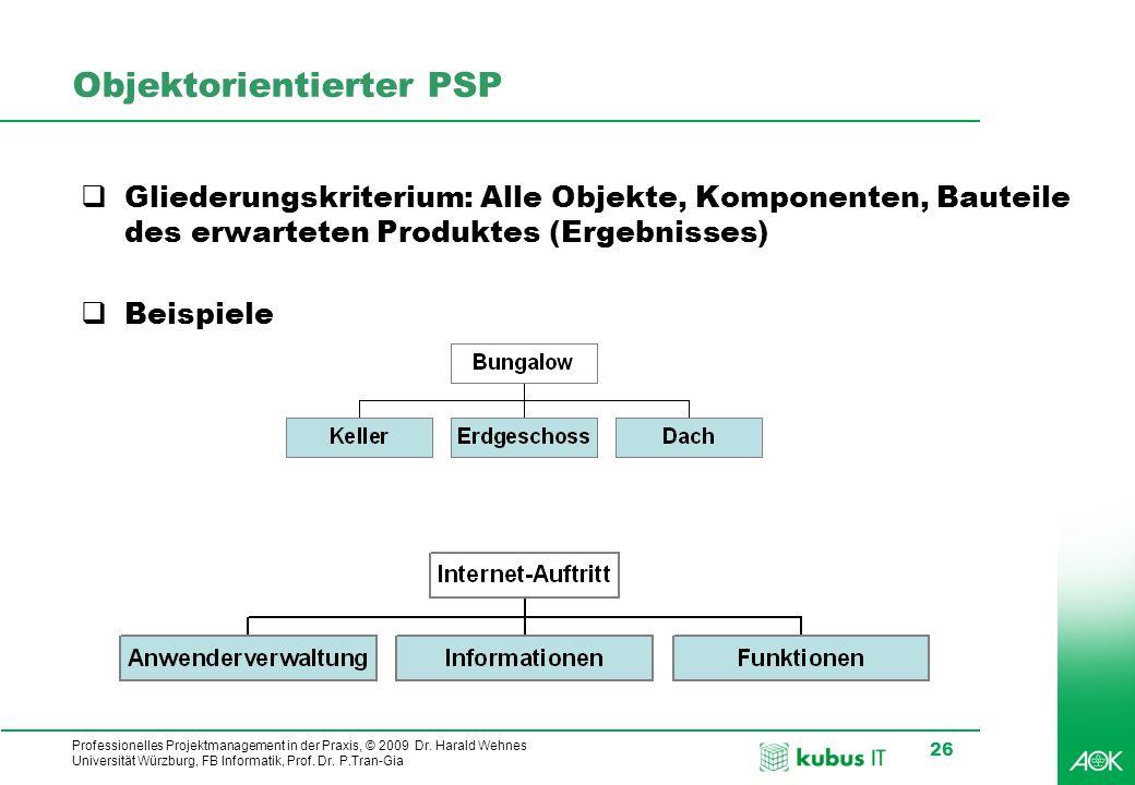 kubus IT Professionelles Projektmanagement in der Praxis, © 2009 Dr. Harald Wehnes Universität Würzburg, FB Informatik, Prof. Dr. P.Tran-Gia 26 Objekt