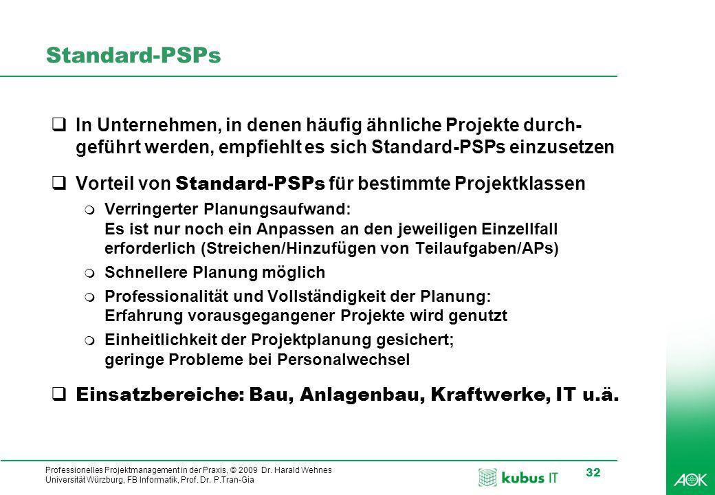 kubus IT Professionelles Projektmanagement in der Praxis, © 2009 Dr. Harald Wehnes Universität Würzburg, FB Informatik, Prof. Dr. P.Tran-Gia 32 Standa