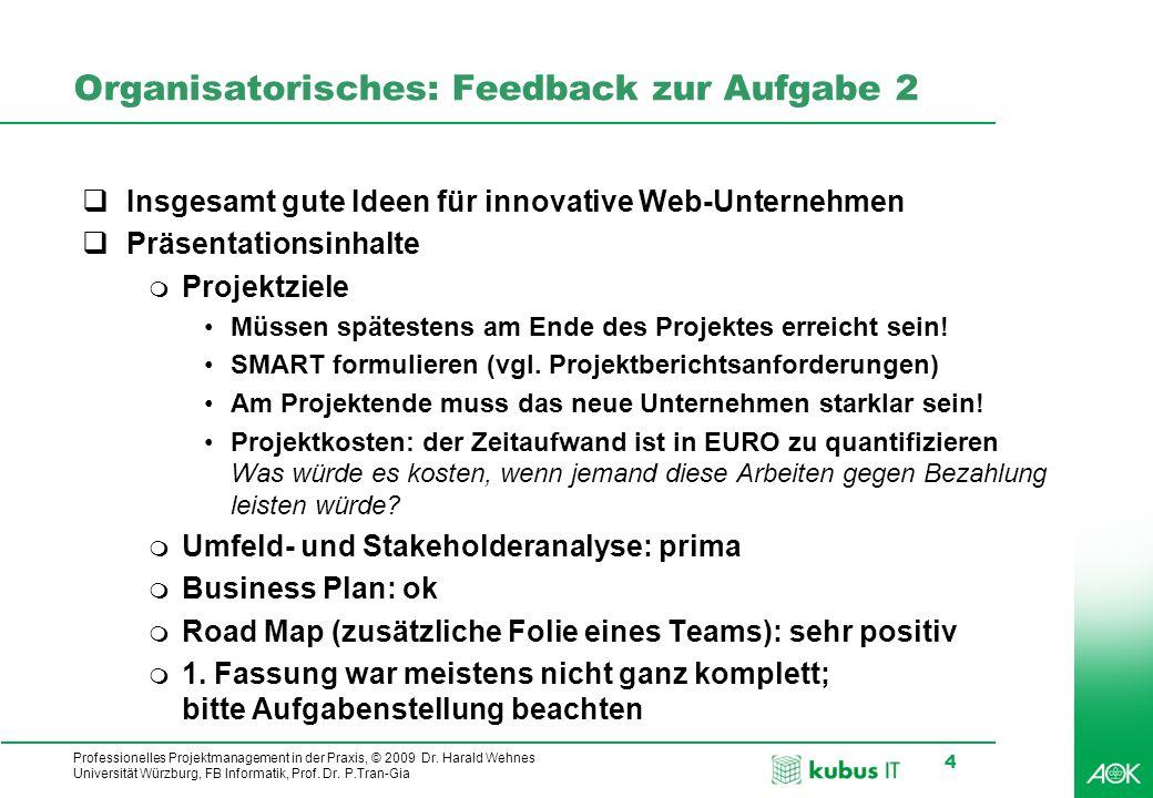 kubus IT Professionelles Projektmanagement in der Praxis, © 2009 Dr. Harald Wehnes Universität Würzburg, FB Informatik, Prof. Dr. P.Tran-Gia 4 Organis