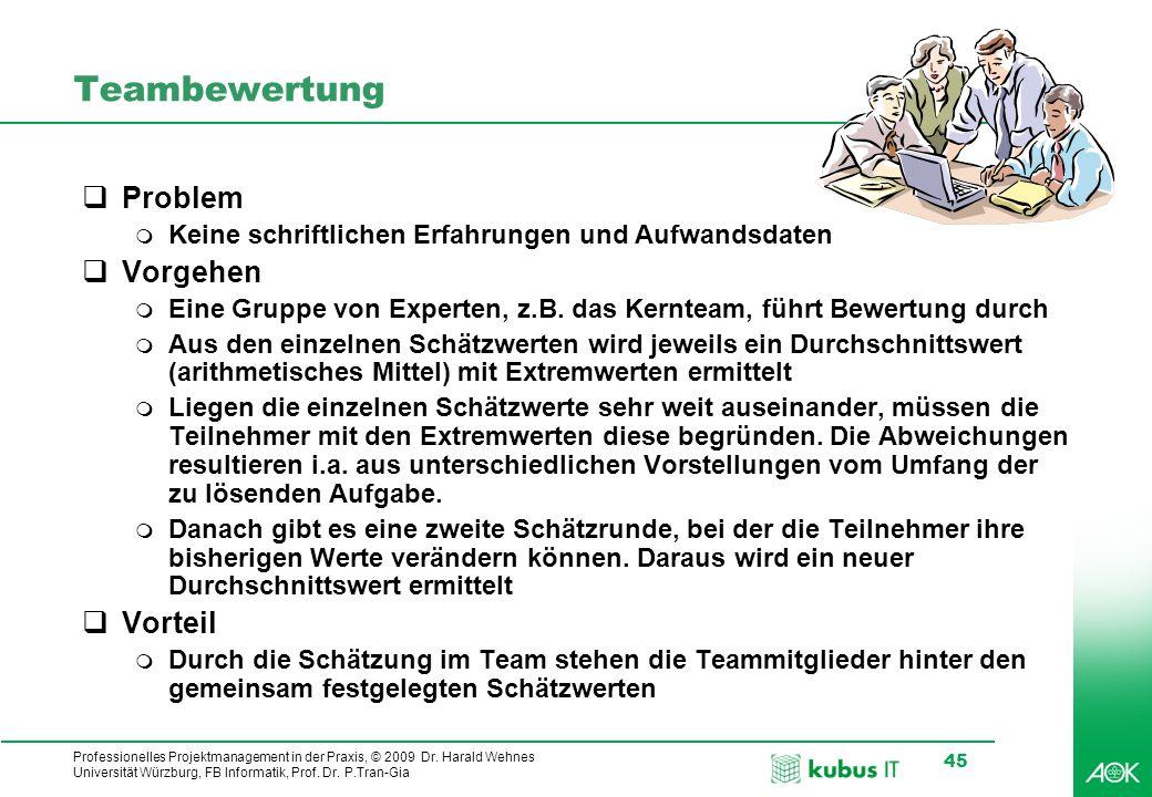 kubus IT Professionelles Projektmanagement in der Praxis, © 2009 Dr. Harald Wehnes Universität Würzburg, FB Informatik, Prof. Dr. P.Tran-Gia 45 Teambe