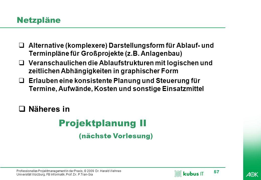 kubus IT Professionelles Projektmanagement in der Praxis, © 2009 Dr. Harald Wehnes Universität Würzburg, FB Informatik, Prof. Dr. P.Tran-Gia 57 Netzpl