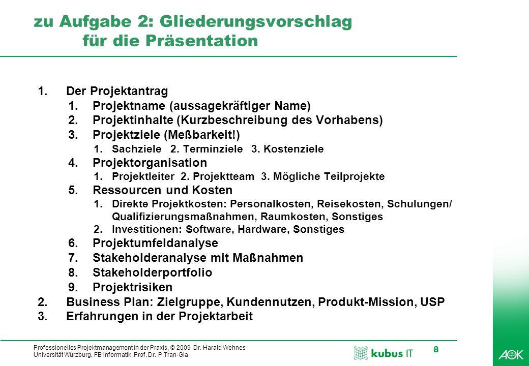 kubus IT Professionelles Projektmanagement in der Praxis, © 2009 Dr. Harald Wehnes Universität Würzburg, FB Informatik, Prof. Dr. P.Tran-Gia 8 zu Aufg