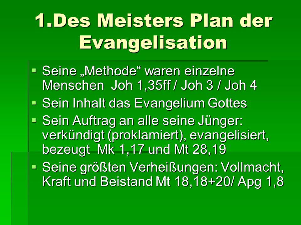 """1.Des Meisters Plan der Evangelisation  Seine """"Methode"""" waren einzelne Menschen Joh 1,35ff / Joh 3 / Joh 4  Sein Inhalt das Evangelium Gottes  Sein"""