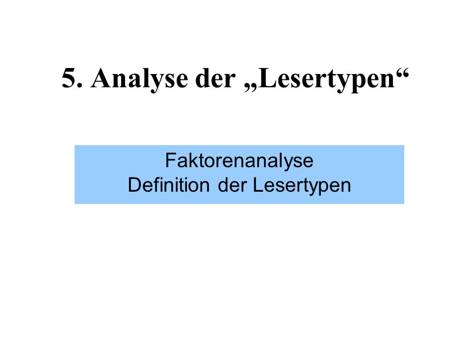 "5. Analyse der ""Lesertypen"" Faktorenanalyse Definition der Lesertypen"
