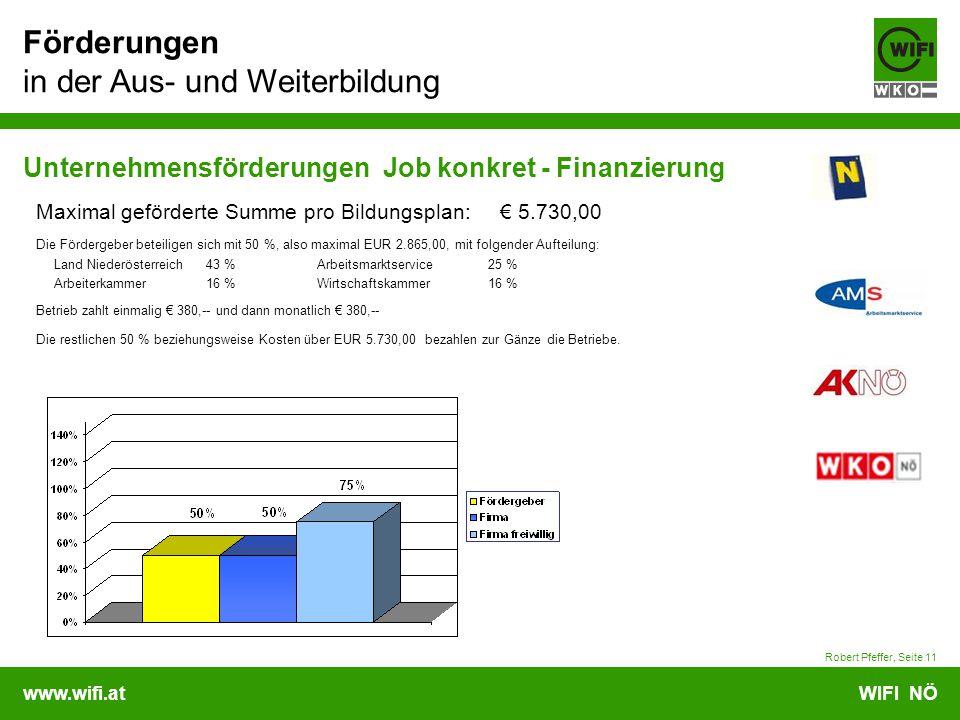 www.wifi.atWIFI NÖ Förderungen in der Aus- und Weiterbildung Robert Pfeffer, Seite 11 Unternehmensförderungen Job konkret - Finanzierung Maximal geförderte Summe pro Bildungsplan: € 5.730,00 Die Fördergeber beteiligen sich mit 50 %, also maximal EUR 2.865,00, mit folgender Aufteilung: Land Niederösterreich43 % Arbeitsmarktservice 25 % Arbeiterkammer16 % Wirtschaftskammer 16 % Betrieb zahlt einmalig € 380,-- und dann monatlich € 380,-- Die restlichen 50 % beziehungsweise Kosten über EUR 5.730,00 bezahlen zur Gänze die Betriebe.