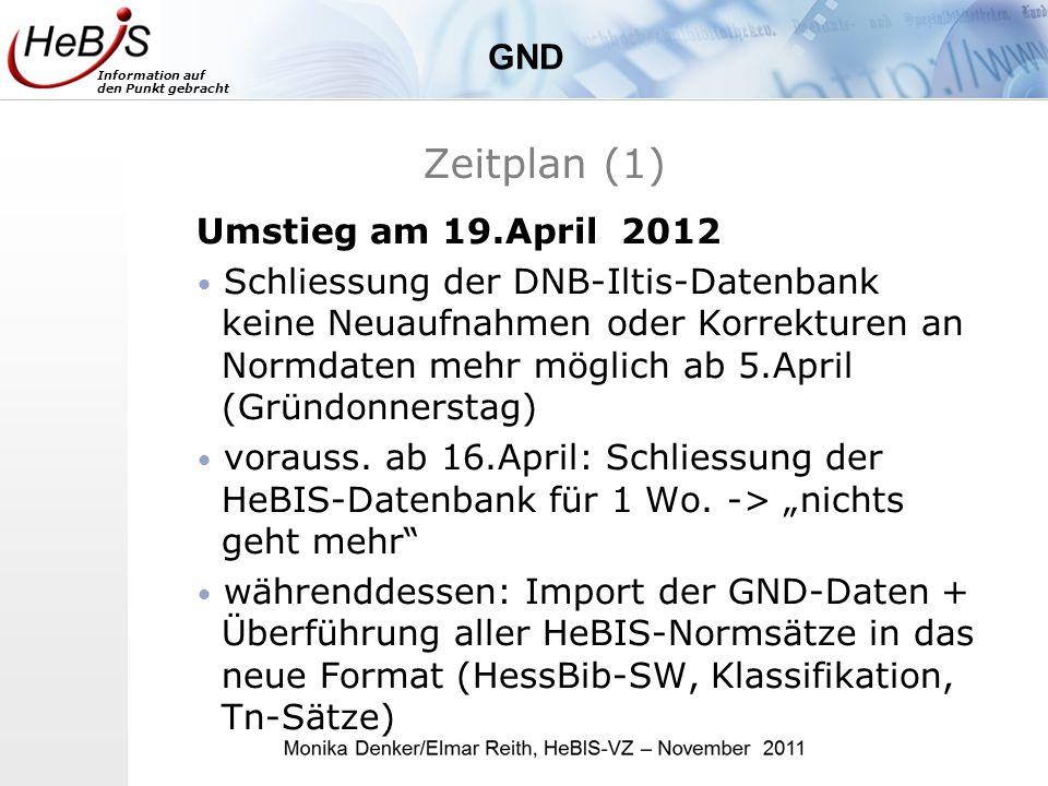 Information auf den Punkt gebracht Zeitplan (1) Umstieg am 19.April 2012 Schliessung der DNB-Iltis-Datenbank keine Neuaufnahmen oder Korrekturen an Normdaten mehr möglich ab 5.April (Gründonnerstag) vorauss.