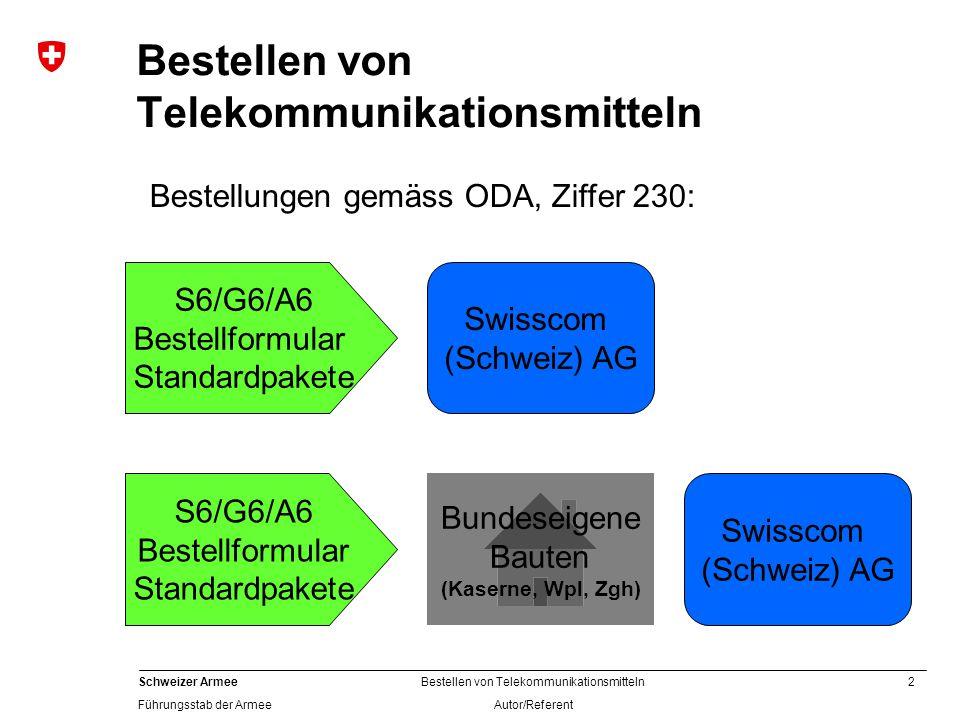 2 Schweizer Armee Führungsstab der Armee Bestellen von Telekommunikationsmitteln Autor/Referent Bestellen von Telekommunikationsmitteln S6/G6/A6 Bestellformular Standardpakete Swisscom (Schweiz) AG Bundeseigene Bauten (Kaserne, Wpl, Zgh) Bestellungen gemäss ODA, Ziffer 230: