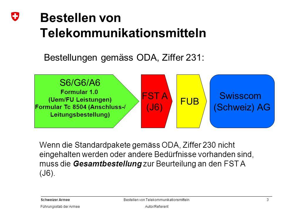 3 Schweizer Armee Führungsstab der Armee Bestellen von Telekommunikationsmitteln Autor/Referent Bestellen von Telekommunikationsmitteln S6/G6/A6 Formular 1.0 (Uem/FU Leistungen) Formular Tc 8504 (Anschluss-/ Leitungsbestellung) FST A (J6) Swisscom (Schweiz) AG Wenn die Standardpakete gemäss ODA, Ziffer 230 nicht eingehalten werden oder andere Bedürfnisse vorhanden sind, muss die Gesamtbestellung zur Beurteilung an den FST A (J6).