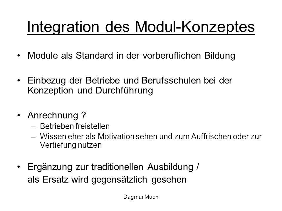 Dagmar Much Integration des Modul-Konzeptes Module als Standard in der vorberuflichen Bildung Einbezug der Betriebe und Berufsschulen bei der Konzeption und Durchführung Anrechnung .