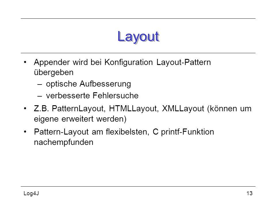 Log4J13 Layout Appender wird bei Konfiguration Layout-Pattern übergeben –optische Aufbesserung –verbesserte Fehlersuche Z.B. PatternLayout, HTMLLayout