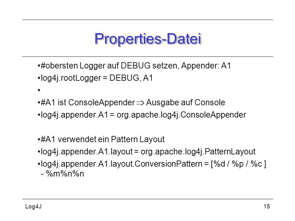 Log4J15 Properties-Datei #obersten Logger auf DEBUG setzen, Appender: A1 log4j.rootLogger = DEBUG, A1 #A1 ist ConsoleAppender  Ausgabe auf Console lo