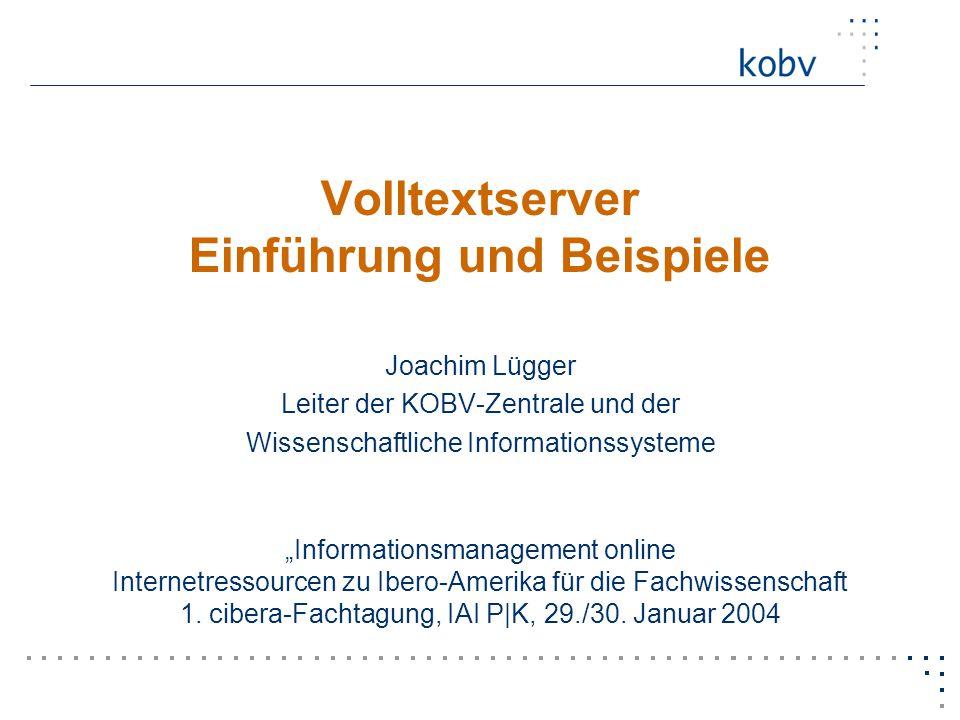 Joachim Luegger, KOBV-Zentrale Januar 2004 Trefferanzeige einer Suche
