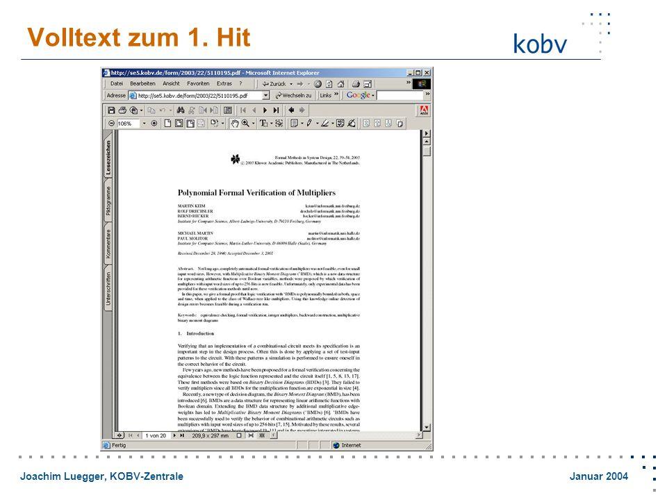 Joachim Luegger, KOBV-Zentrale Januar 2004 Volltext zum 1. Hit