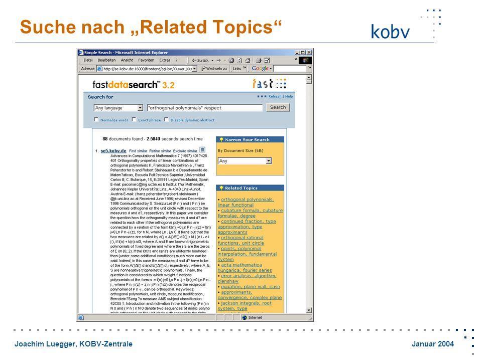 "Joachim Luegger, KOBV-Zentrale Januar 2004 Suche nach ""Related Topics"