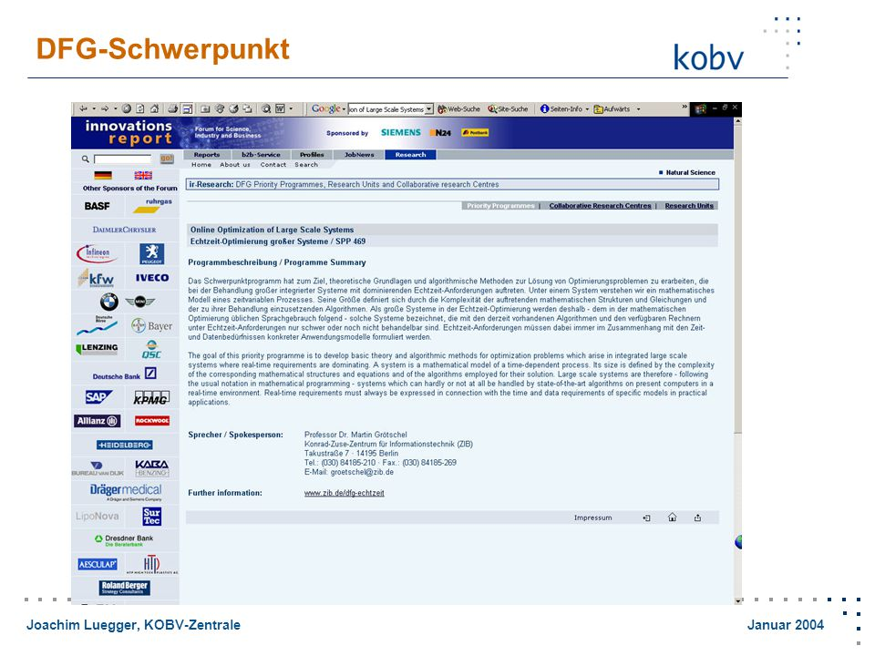Joachim Luegger, KOBV-Zentrale Januar 2004 Homepage eines Mathematik Professors