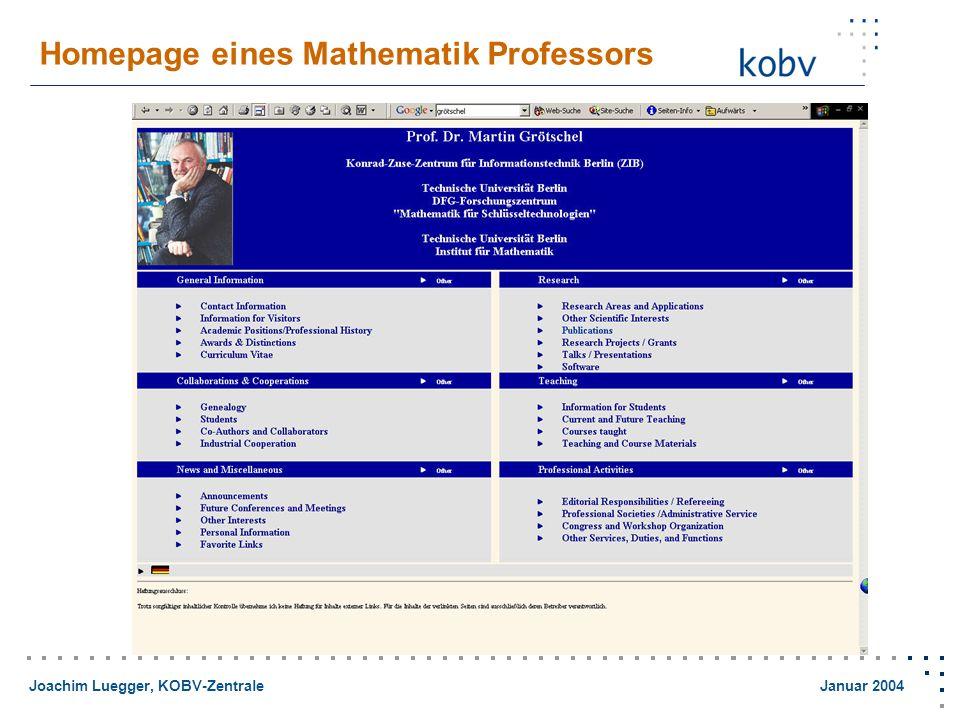 Joachim Luegger, KOBV-Zentrale Januar 2004 Nahtlose Navigation mittels OpenURL Linking-Services im Suchergebnis für......