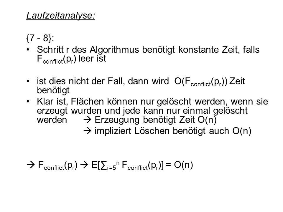 Laufzeitanalyse: {7 - 8}: Schritt r des Algorithmus benötigt konstante Zeit, falls F conflict (p r ) leer ist ist dies nicht der Fall, dann wird O(F c