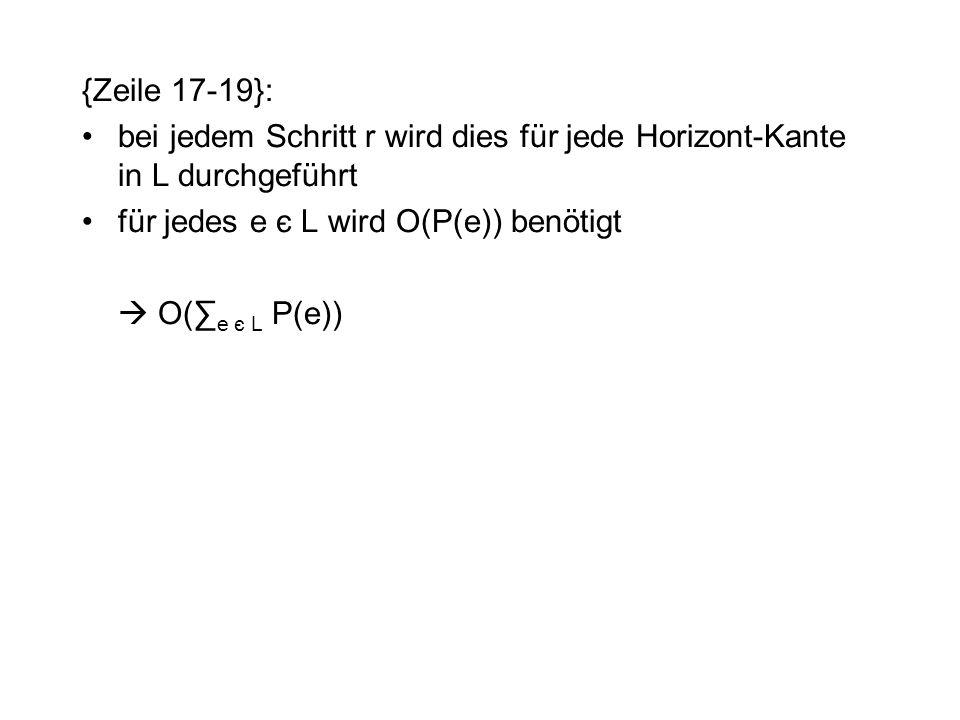 {Zeile 17-19}: bei jedem Schritt r wird dies für jede Horizont-Kante in L durchgeführt für jedes e є L wird O(P(e)) benötigt  O(∑ e є L P(e))