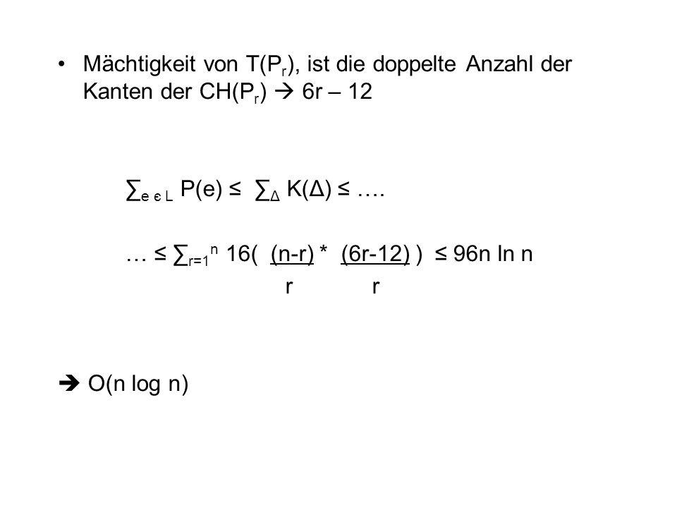 Mächtigkeit von T(P r ), ist die doppelte Anzahl der Kanten der CH(P r )  6r – 12 ∑ e є L P(e) ≤ ∑ Δ K(Δ) ≤ …. … ≤ ∑ r=1 n 16( (n-r) * (6r-12) ) ≤ 96