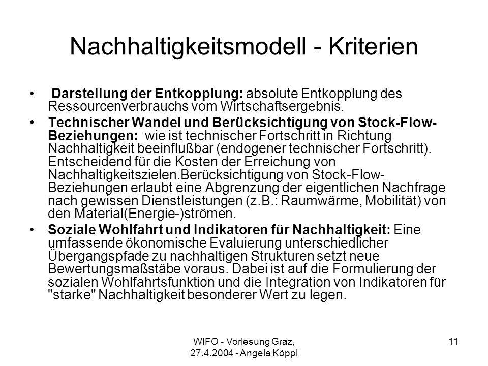 WIFO - Vorlesung Graz, 27.4.2004 - Angela Köppl 11 Nachhaltigkeitsmodell - Kriterien Darstellung der Entkopplung: absolute Entkopplung des Ressourcenverbrauchs vom Wirtschaftsergebnis.